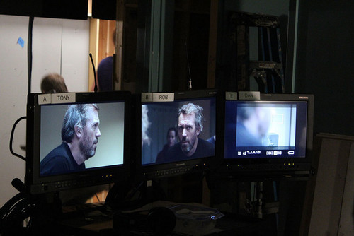 Hugh Laurie on the set of the photoshoot season8
