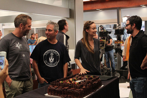 Hugh laurie,David Shore,Greg Yaitanes and Olivia Wilde(celebrating the birthday of Olivia Wilde