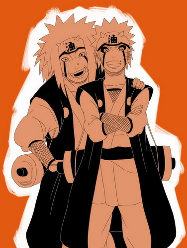 Jiraiya and Naruto cosplaying Jiraiya