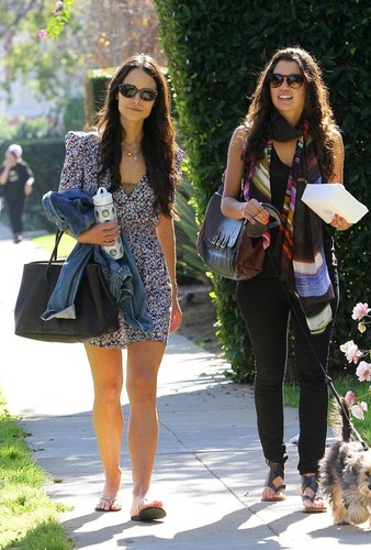 Jordana - with a friend at La Conversation in West Hollywood - Jan 28, 2011