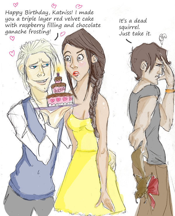 katniss gale and peetacartoons the hunger games photo