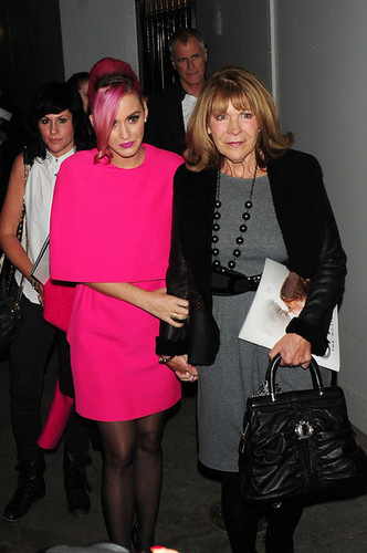 Katy Perry and her mother-in-law Barbara Brand leave the Piccadilly Theatre .