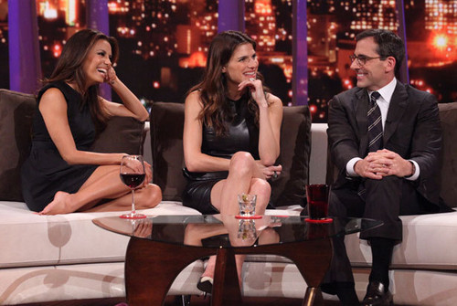 Lake Bell wallpaper with a business suit called Eva Longoria, Lake Bell & Steve Carell on Rove Live - October 18, 2011
