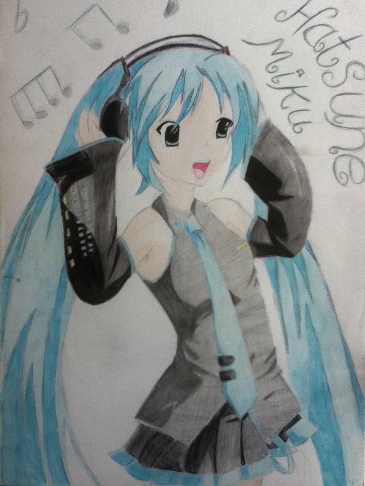 Miku Singing in English Anime Drawing Miku Singing 3