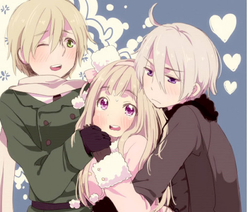 Nyotalia- Male! Ukraine, Fem! Russia and Male! Belarus