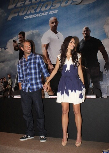 Paul Walker wallpaper probably with bare legs, hosiery, and a hip boot titled Paul - Fast Five Press Conference at the Copacabana Palace Hotel in RJ, Apr 13, 2011
