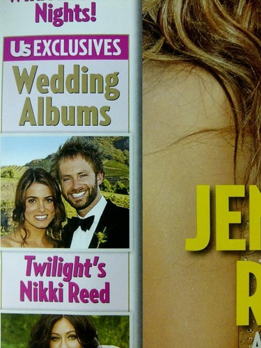 Никки Рид Обои with Аниме entitled Scans from US Weekly featuring the first фото from Nikki and Paul McDonald's wedding.