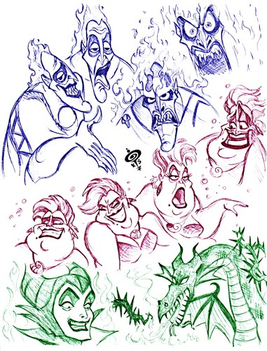 Walt Disney shabiki Art - Disney Villains Sketch