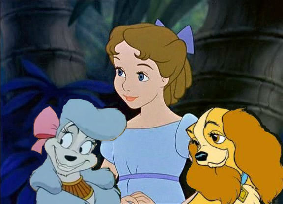 Disney Crossover Images Wendy And Her Dogs Wallpaper And