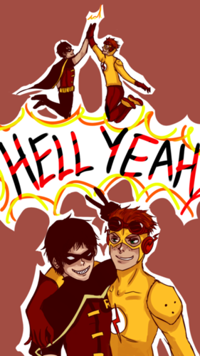 Kid Flash + Robin 壁紙 probably containing アニメ titled bbrf(bestbrosforever)