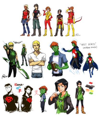 Young Justice karatasi la kupamba ukuta called gender swap