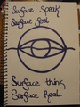 reflection symbol..surface speak, surface feel, surface think, surface real - skulduggery-pleasant fan art