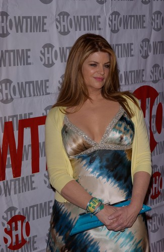 Kirstie Alley achtergrond probably with a cocktail dress, a avondeten, diner dress, and a dress entitled 'Fat Actress' premiere