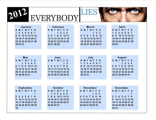 2012 Dr. Gregory House Calendar