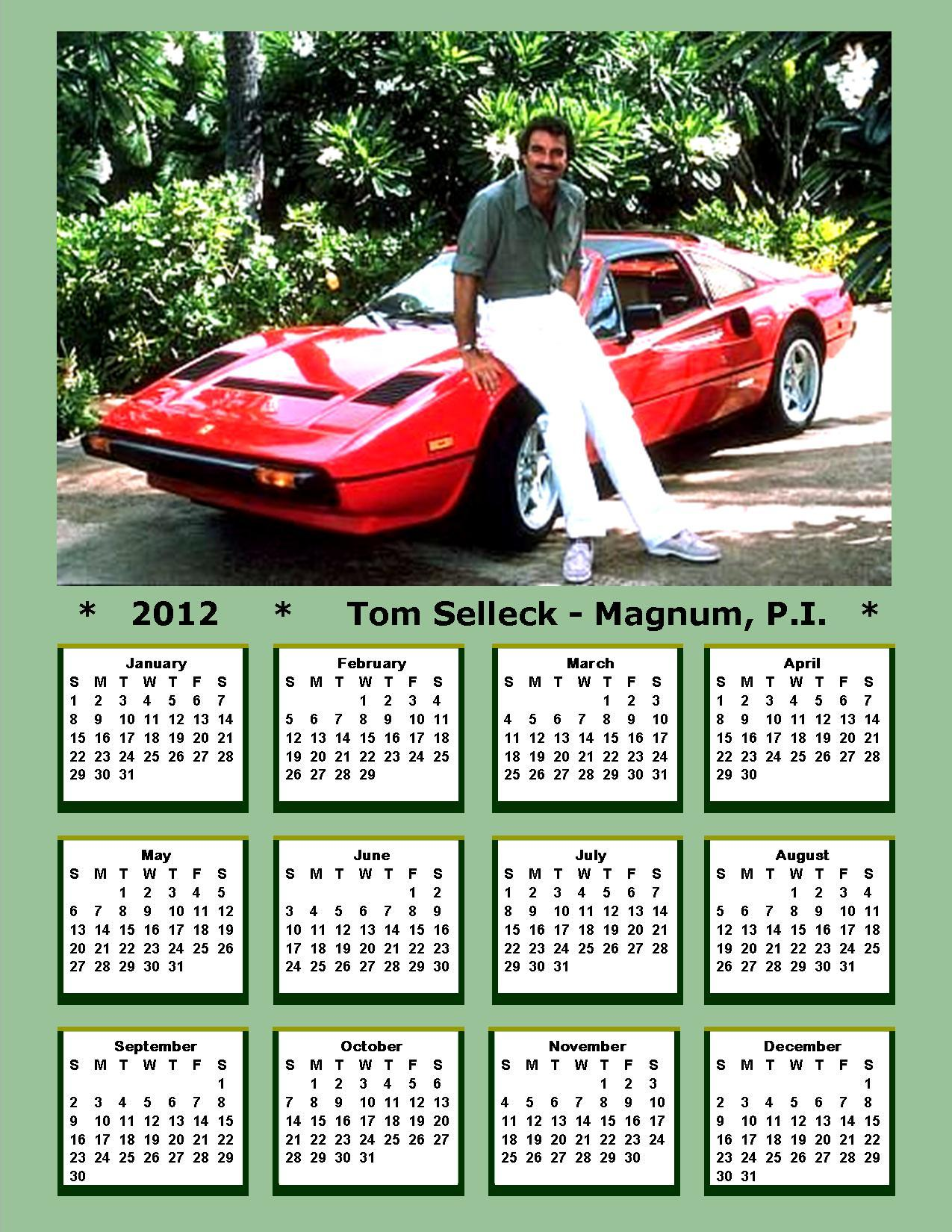 2012 Tom Selleck - Thomas anderthalbliterflasche, magnum Calendar