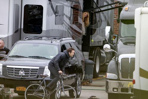 Blake Lively visits Ryan Reynolds on Set in Boston