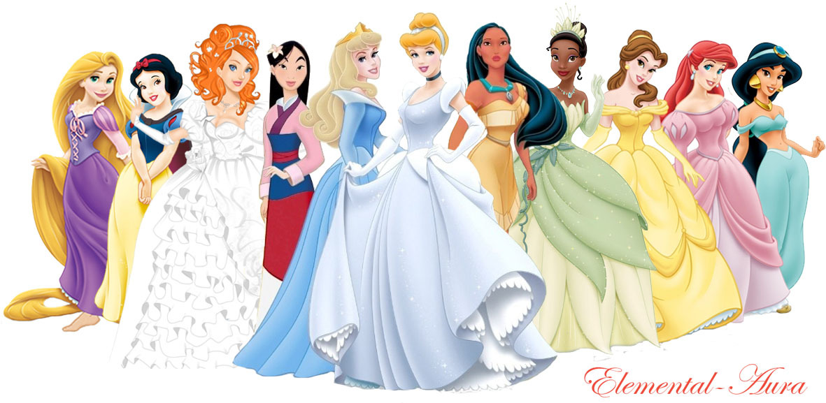 disney Princess with Giselle in wedding vestido