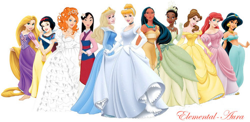 Disney Princess with Giselle in wedding gown