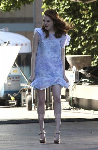 Emma Stone films a Revlon Commercial in L.A, Oct 22