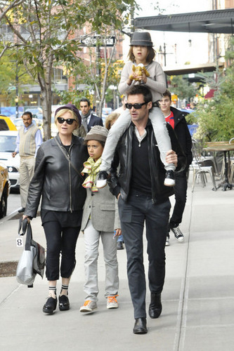 Hugh Jackman and Family in NYC