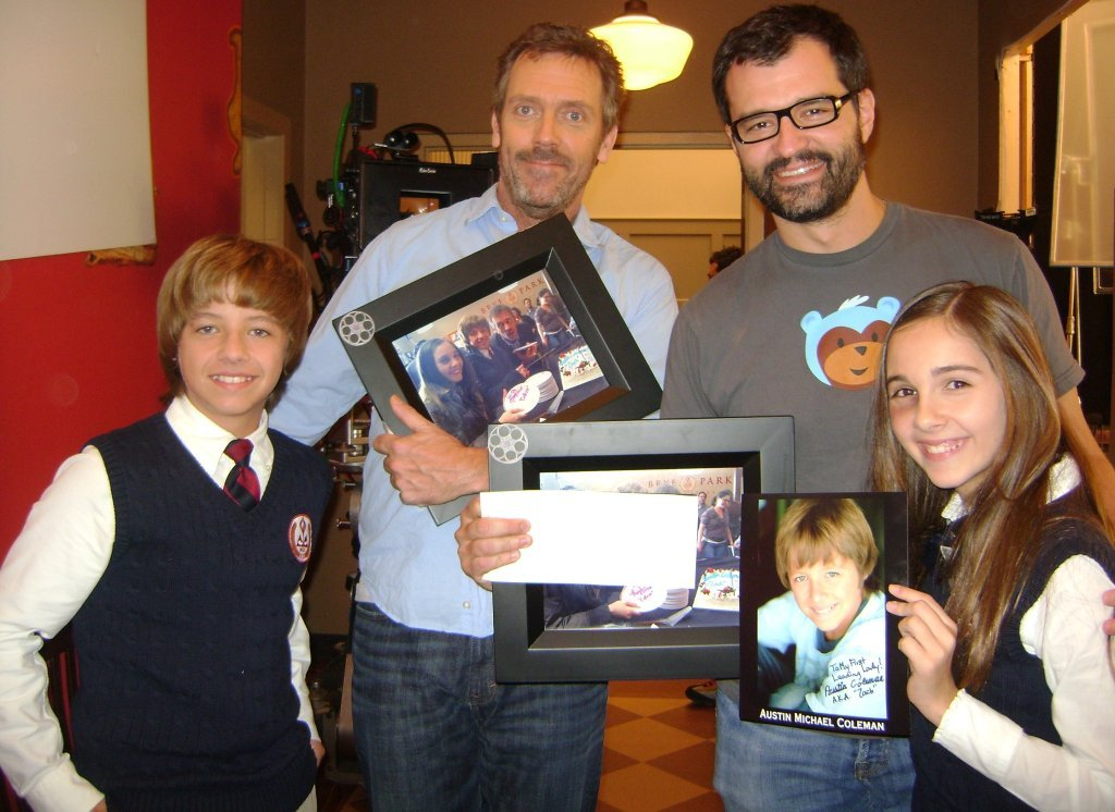Hugh Laurie,Austin Michael Colin Haley Pullos and GregYaitanes on the set of HouseMD-season7(7x13)