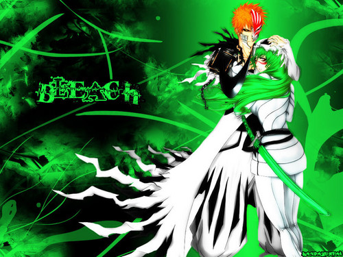 anime ya Bleach karatasi la kupamba ukuta possibly with a bouquet called Ichigo and Neliel