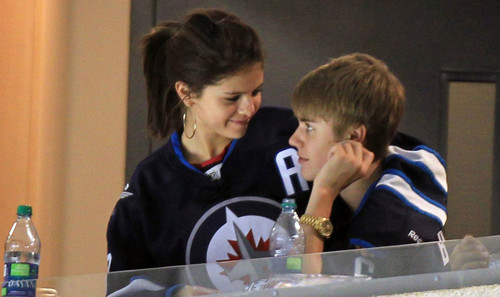 Justin and Selena at Winnipeg Jets Game