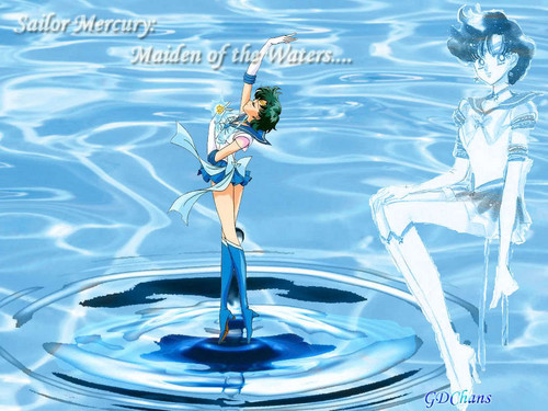 Bakugan and Sailor Moon! kertas dinding called Sailor Mercury/Ami Mizuno