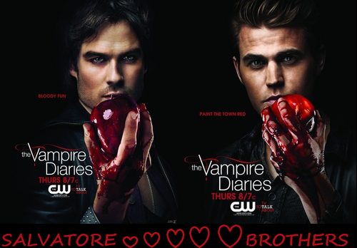 Damon and Stefan Salvatore پیپر وال titled Salvatore Brothers