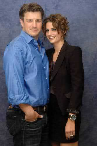 Nathan Fillion & Stana Katic wallpaper containing a business suit called Stana & Nathan