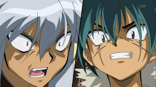 beyblade Metal Fusion wallpaper called Tsubasa vs Kyoya