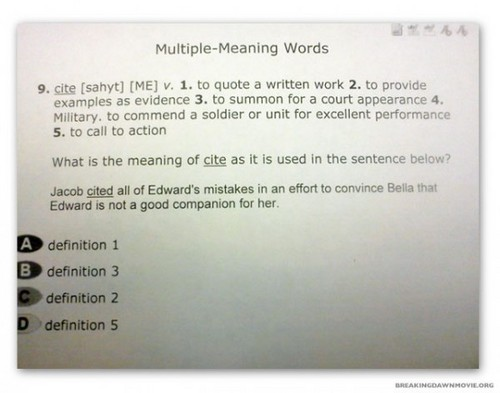 Twilight Makes Appearance on Standardized Test Prep: Jacob Cites Edward