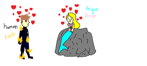 the human torch and aqua rose the mermaid
