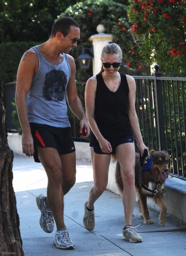 Amanda hiking in the Hollywood Hills with Harvy and Finn - 10/28/11