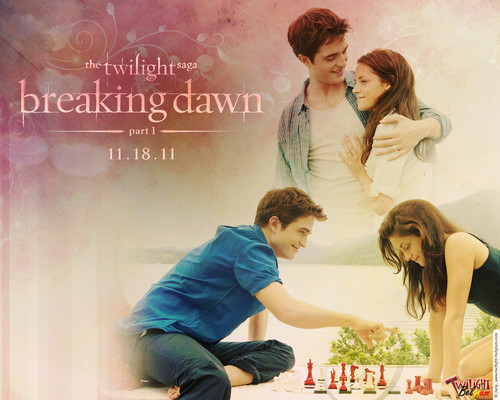 Edward and Bella wallpaper probably containing a sign, a bouquet, and a portrait titled Breaking Dawn wallpapers