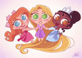Chibi Rapunzel and Tina and Giselle