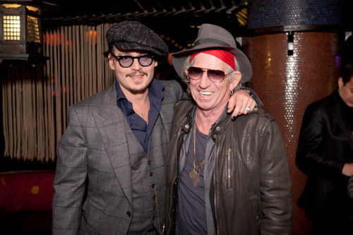 Johnny Depp wallpaper probably containing a business suit titled Johnny Depp with Keith Richards in New York 10.27.2011