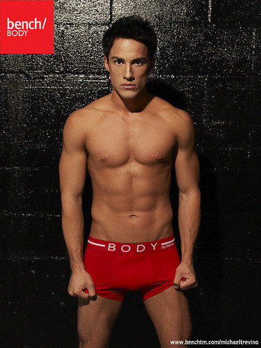 Michael Trevino wallpaper with a six pack and a hunk titled Michael Trevino for Bench Body