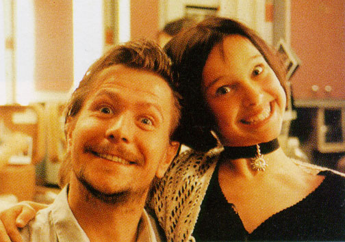 Natalie Portman and Gary Oldman the set of Leon