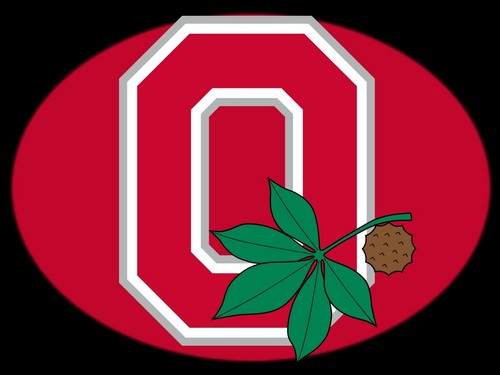 RED BLOCK O WITH BUCKEYE LEAF