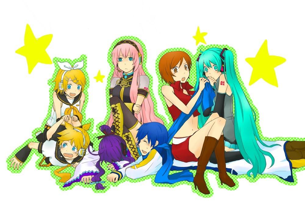 Rin,Len,Luka,Gakupo,Meiko, Miku and Kaito