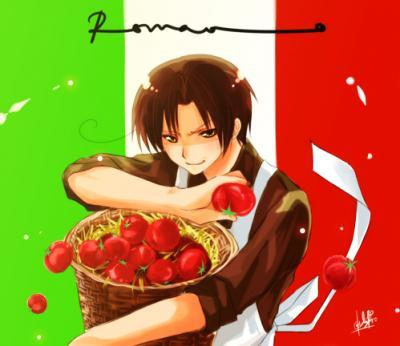 Hetalia Italy karatasi la kupamba ukuta possibly with a bing cherry and a portrait entitled Romano with some tomatoes