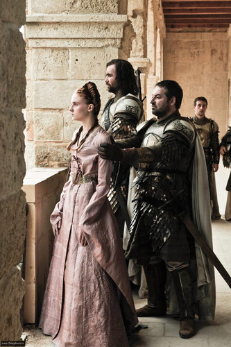 Sansa Stark with Meryn Trant and Sandor Clegane
