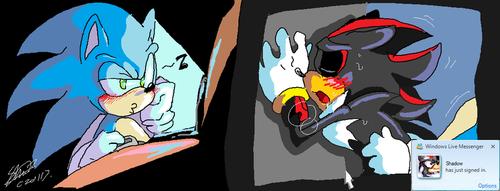 Ёж Соник Обои containing Аниме entitled Sonic Looks at Соник и Шедоу