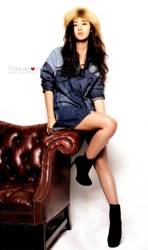 kwon Yuri karatasi la kupamba ukuta possibly with a recliner, a hip boot, and an easy chair titled Yuri - High Cut Magazine Scans