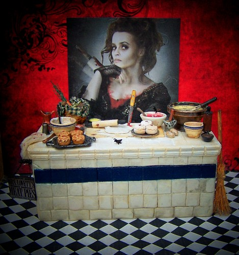 Tim burton kertas dinding titled 19th hari Miniatures version of Mrs. Lovett's Meat Pie Counter