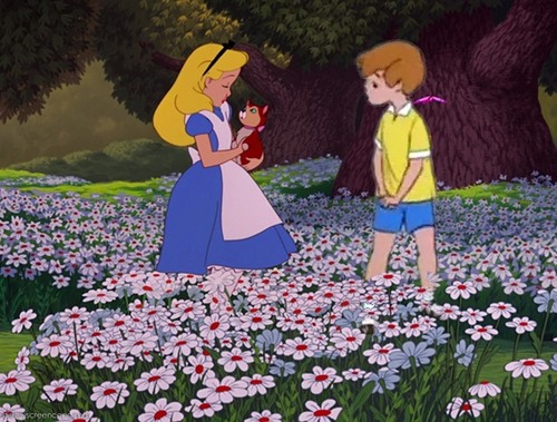 disney crossover wallpaper possibly containing a flowerbed, a spurge, and a bouquet called Alice and ChristopherRobin