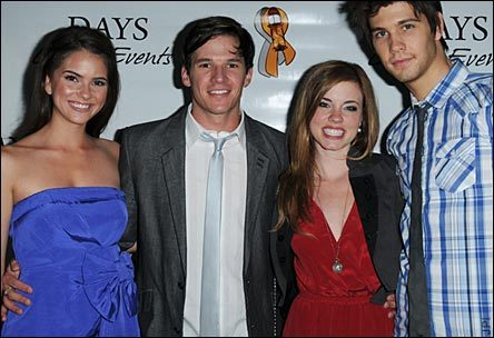 Days of Our Lives wallpaper possibly containing a cocktail dress and a well dressed person entitled Shelley Hennig, Mark Hapka, Molly Burnett, and Casey Deidrick