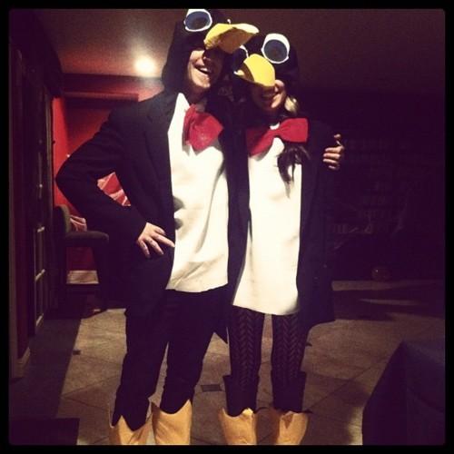Christina and John as penguins