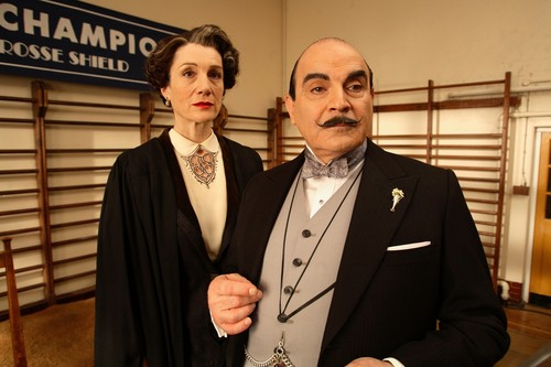 David Suchet as Poirot and Harriet Walter as Miss Honoria Bulstrode